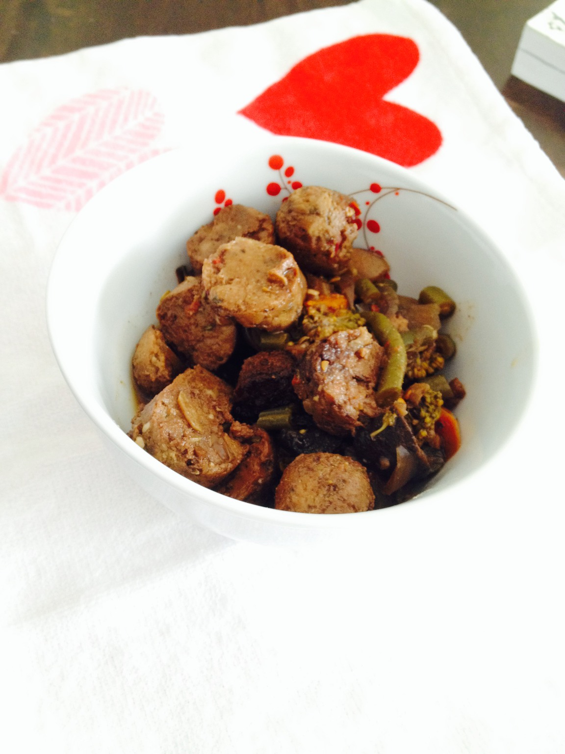 Recipe for Spicy Vegetarian Sausage And Vegetables : Slow Cooker (Crock-Pot)